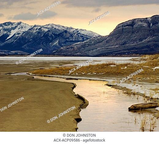 Water channel in Jasper Flats at dawn, Jasper National Park, Alberta, Canada