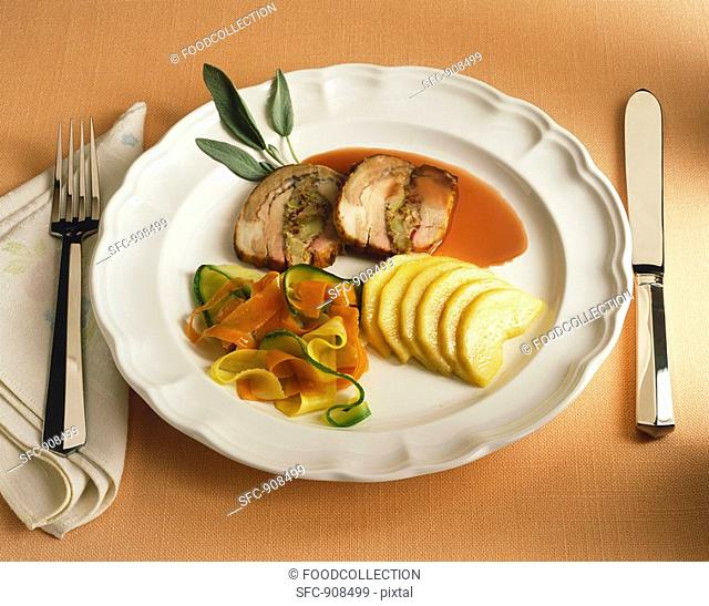 Sliced Stuffed Pork Loin with Vegetable Ribbons