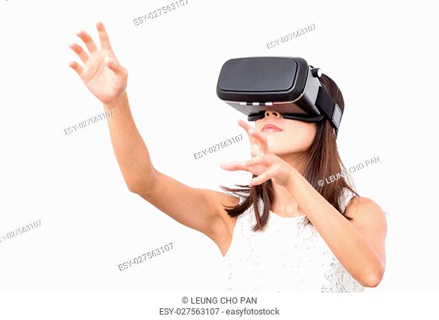 Young Woman watching with virtual reality