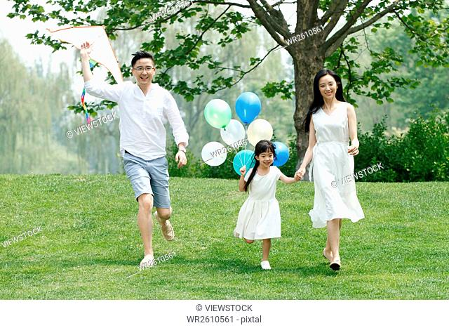 A family of three is flying a kite on the grass