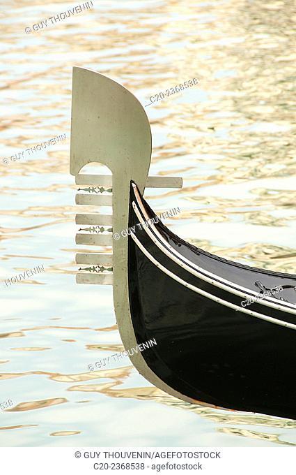 Ferro, Gondola ( detail), on canal Grande, Venice, Italy
