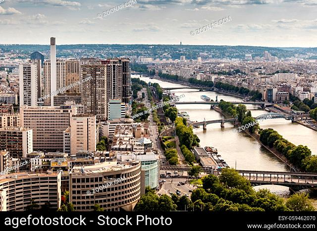 Aerial View on River Seine and Pont de Bir-Hakeim from the Eiffel Tower, Paris, France