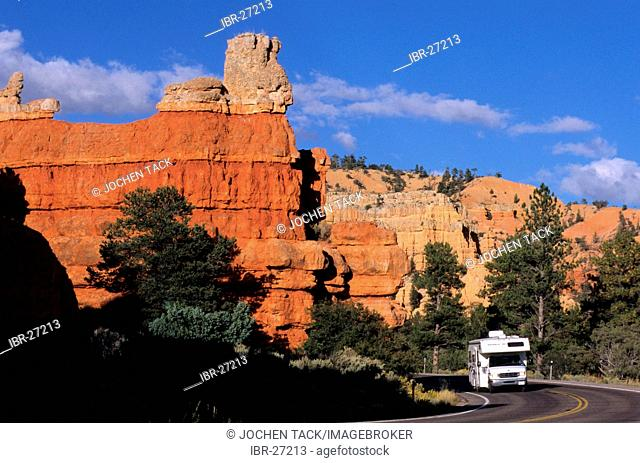 USA, United States of America, Utah: Red Rock Canyon Traveliing in a Motorhome, RV, through the west of the US