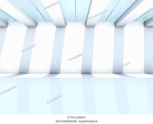 Empty white interior. 3D rendering
