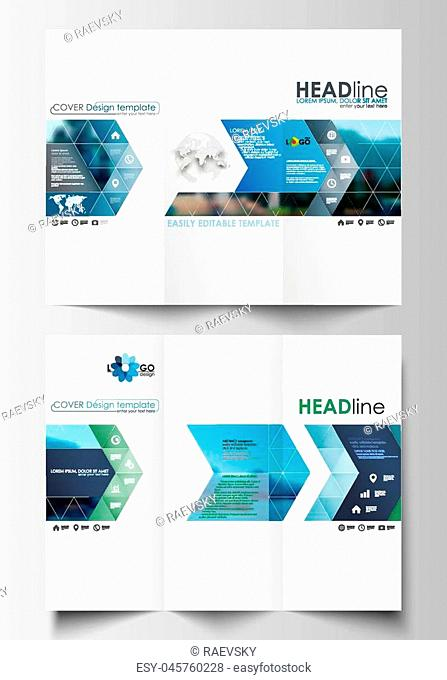Tri-fold brochure business templates on both sides. Flat design blue color travel decoration layout, easy editable vector template