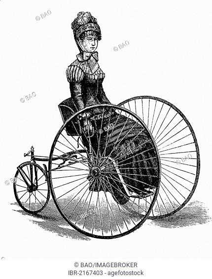 Ladies draisine, handcar from 1885, historical engraving, 1880