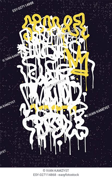 Vector fashion graffiti font. modern hand drawing retro style font texture, design elements in white, ..yellow, black, blue