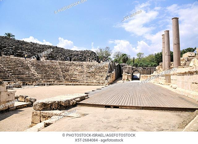 Israel, Bet Shean Roman theatre dating from the first century CE. During the Hellenistic period Bet Shean had a Greek population and was called Scythopolis