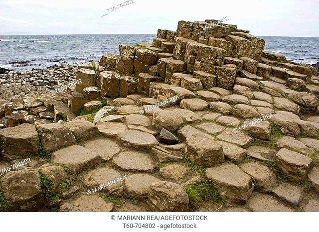 The lava formed rocks in Giant's causeway, Ireland