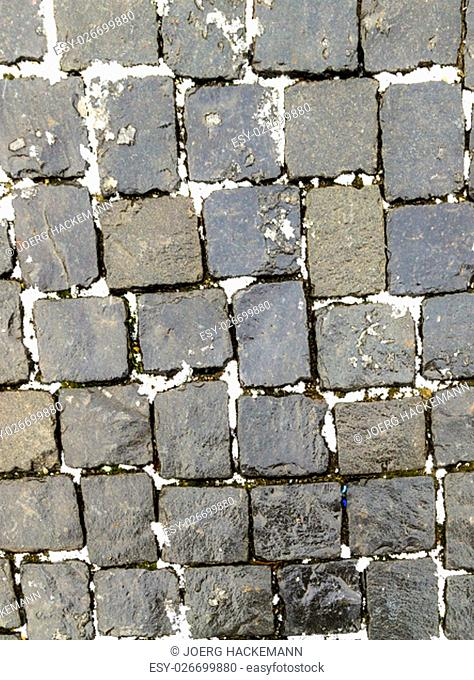 Old Cobble Stone Street Background with snow