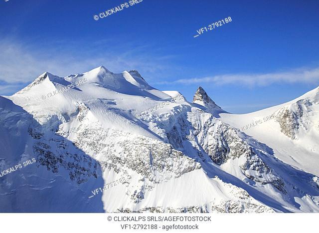 Aerial view of Belleviste with Cresta Aguzza. Engadine, Canton of Grisons, Switzerland Europe