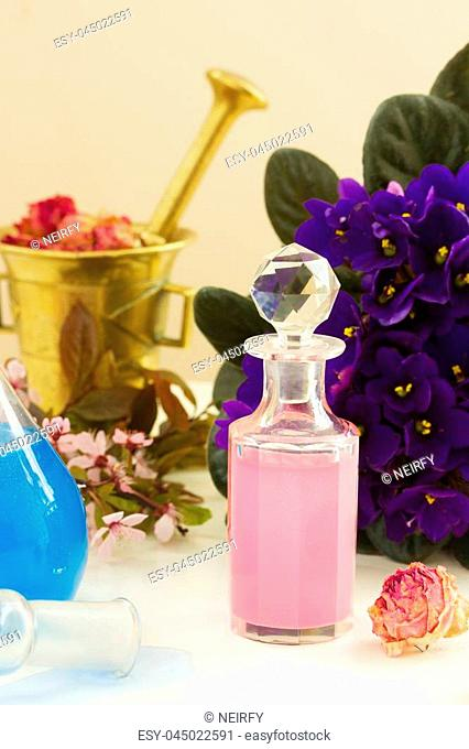 Dry flowers, vials and mortar of tincture or oil, aromatherapy concept