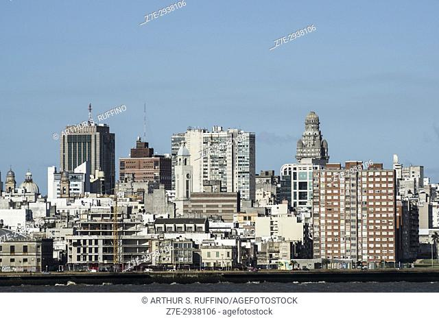 Montevideo skyline, view from cruise ship, Uruguay, South America