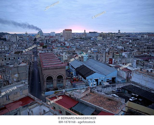 Panoramic view of the old town in the morning twilight, Havana, Cuba, Latin America