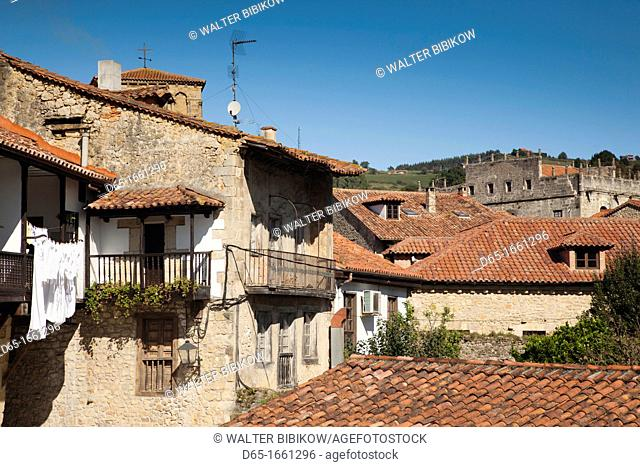 Spain, Cantabria Region, Cantabria Province, Santillana del Mar, detail of midieval town buildings
