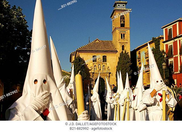 Holy Monday procession in Plaza Nueva, Granada. Andalusia, Spain