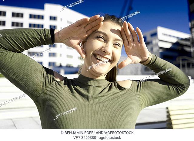 happy laughing woman, in Hamburg, Germany