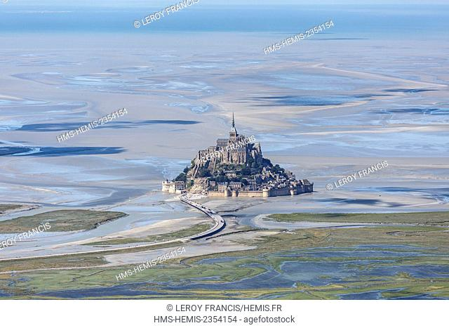 France, Manche, Le Mont Saint Michel, listed as World Heritage by UNESCO, the mount at low tide (aerial view)