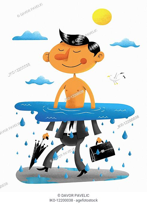 Happy businessman waist deep in water in sunshine on top half and wearing suit in rain on bottom half