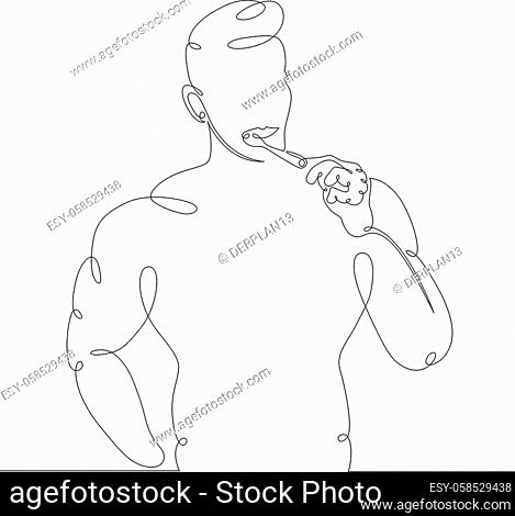 One continuous drawing line young man brushes his teeth early in the morning. Single hand drawn art line doodle outline isolated minimal illustration cartoon...