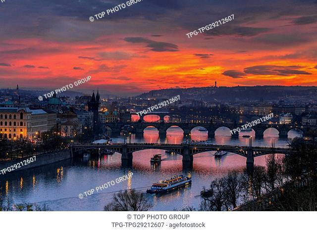 Aerial View of the Voltava river through Prague; Czech Republic