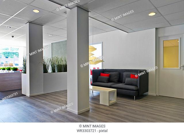 Modern lobby area in office
