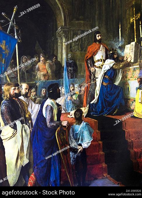 Oath in Santa Gadea, when El Cid forced King Alfonso VI to swear that he had no part in his brotherâ. . s death. By Armando Menocal, 1887