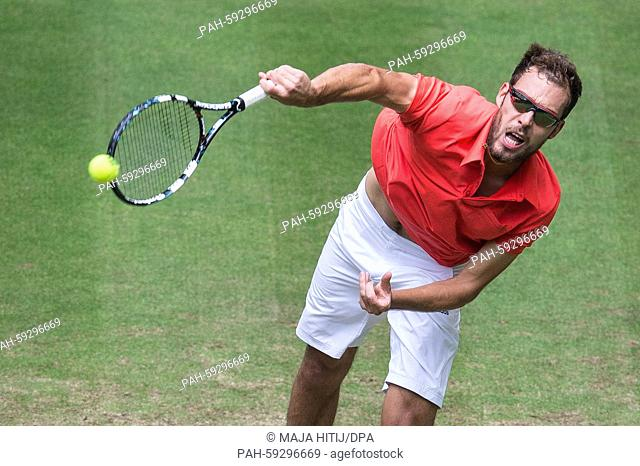 Jerzy Janowicz of Poland in action in the round of 16 match against Falla of Colombia during the ATPtennis tournament in Halle,Germany, 18 June 2015