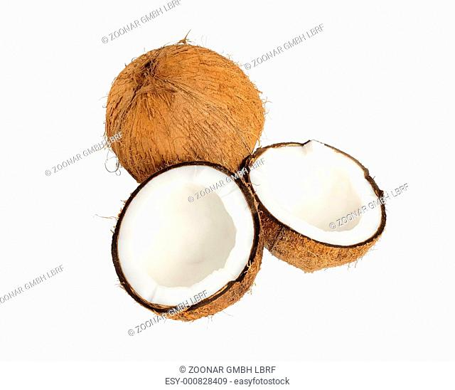 cracked coconut isolated on white background