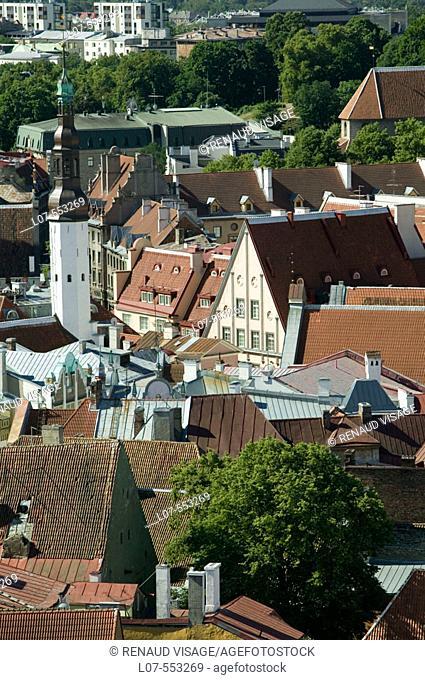 City skyline with Raekoja City Hall in Old Town. Tallinn. Estonia