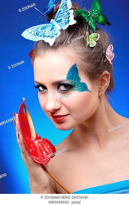 model with butterfly bodyart