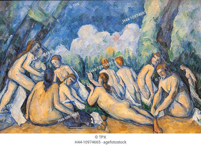 England, London, Trafalgar Square, National Gallery, Painting titled Bathers (Les Grandes Baigneuses) by Paul Cezanne