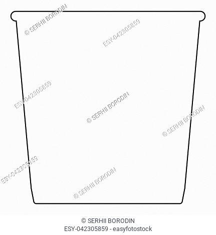 Trash bucket the black color icon vector illustration