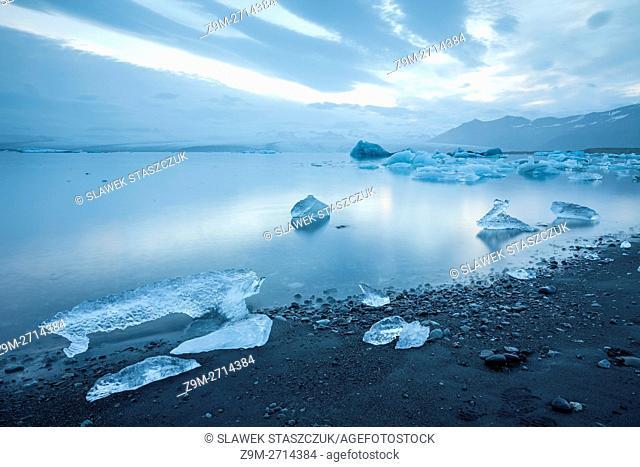 Evening at Jokulsarlon glacial lagoon, Iceland