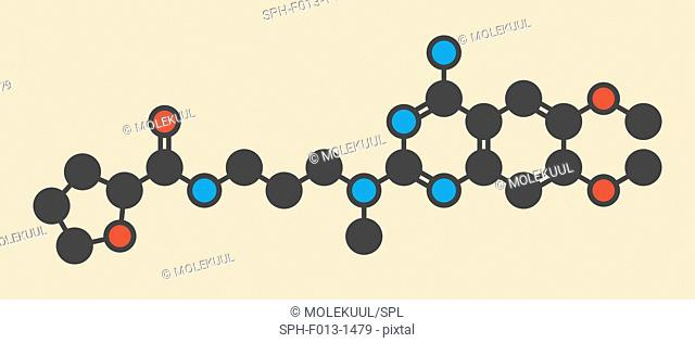 Alfuzosin benign prostate hyperplasia (BPH) drug molecule. Stylized skeletal formula (chemical structure). Atoms are shown as color-coded circles: hydrogen...