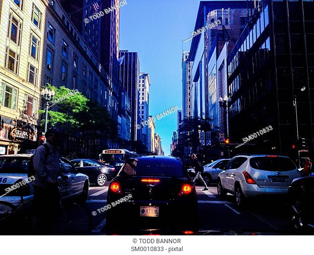 Stuck in traffic southbound on State Street near Monroe Street, downtown Chicago, Illinois