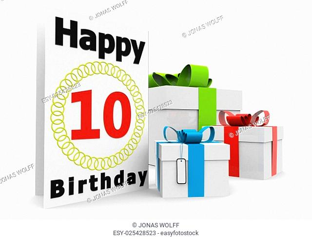 a birthday card with the age, happy birthday and presents