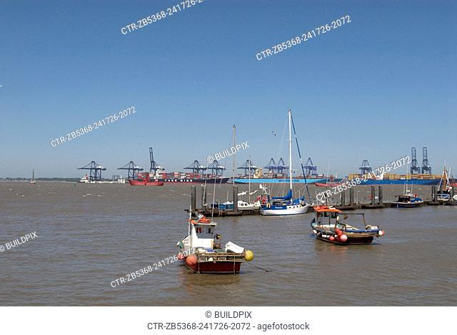 View of Felixstowe Port from Harwich, Essex, UK