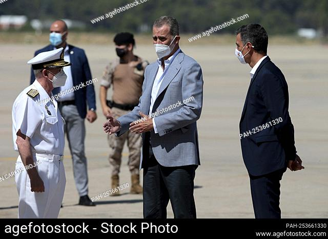 Madrid, Spain; 28.08.2021.- King Felipe VI visited this Saturday morning, together with the President of the Spanish Government, Pedro Sánchez
