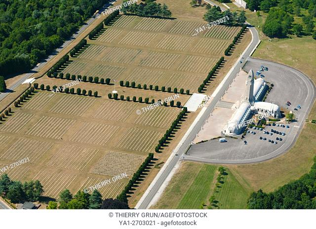 France, Meuse (55), Verdun, WWI battle fields, Douaumont, ossuary and cemetary (aerial view)