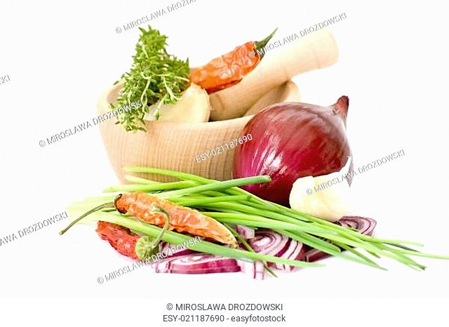 herbs, onion, garlic and spices