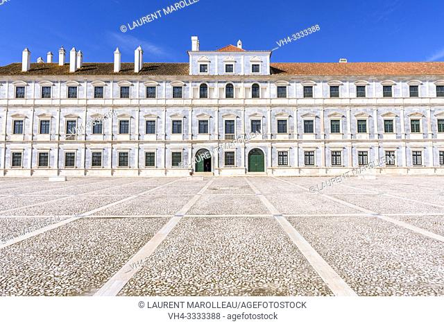 Imposing facade of Marble of the Ducal Palace of Vila Viçosa, Nossa Senhora da Conceicao, Vila Vicosa Municipality, Evora District, Alentejo Region, Portugal