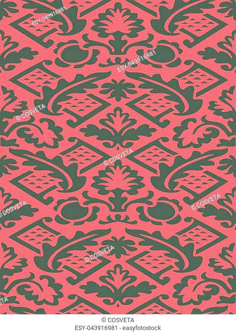 Vector colorful damask seamless floral pattern background. Color trend. Elegant luxury texture for wallpapers, backgrounds and page fill