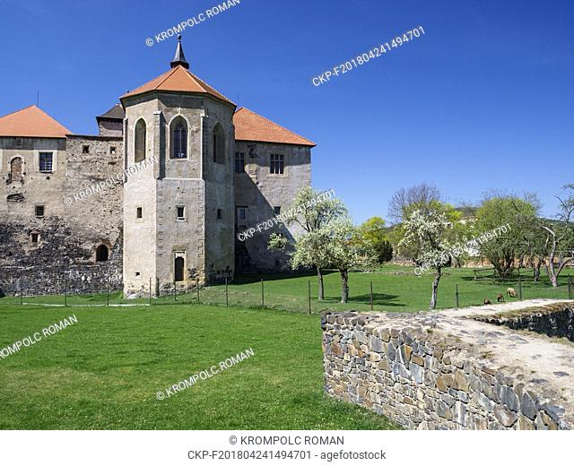 Water Castle Svihov, in the foreground is a stone flood wall built on the ground plan of the original outer walls. (CTK Photo/Roman Krompolc)