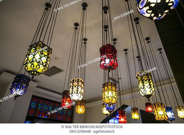 Azerbaijan, Sheki, traditional middle eastern-style interior decorative lamps