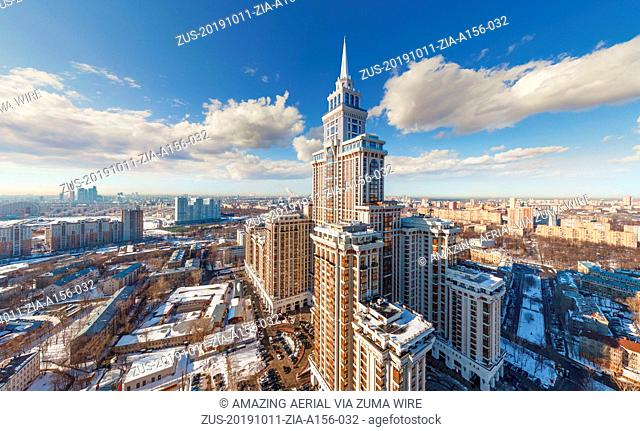October 11, 2019, Moscow, Russia: Aerial view of Triumph Palace in Moscow, Russia (Credit Image: © Airpano Llc/Amazing Aerial via ZUMA Wire)