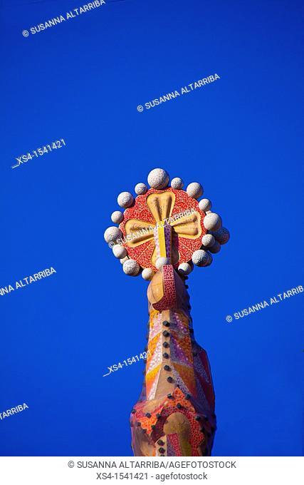 Spire detail of Sagrada Familia 'Basílica i Temple Expiatori de la Sagrada Família'. Basilica and Expiatory Church of the Holy Family