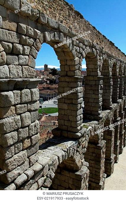 The famous Roman Aqueduct in Segovia in Spain