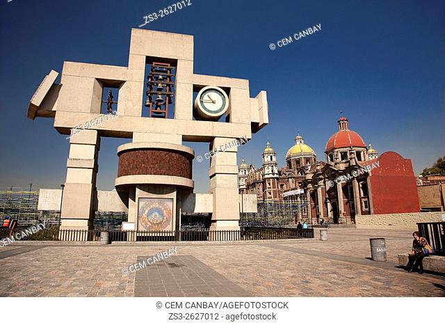 The Carillon, Cross-shaped image symbolizing the cosmos and called Nahui-Ollin, Basilica de Santa Maria de Guadalupe and the Old Basilica Our Lady of Guadalupe
