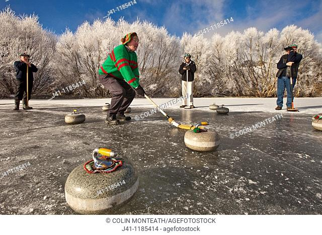 Bonspiel, national curling competition July 2010. Idaburn dam, Oturehua, Ida valley, Central Otago, New Zealand